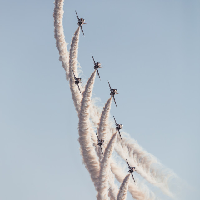 """""""Red Arrows flying the pheonix bend"""" stock image"""
