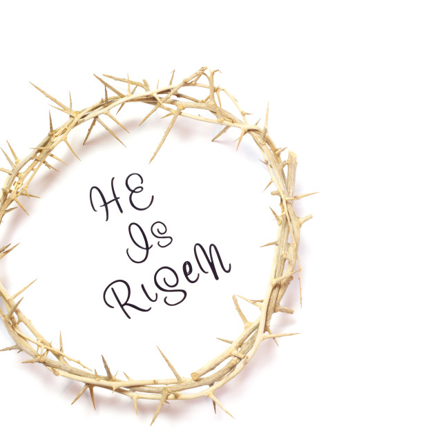 """Easter He is Risen Quote isolated on white background with Crown"" stock image"