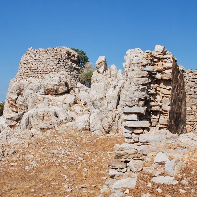 """""""Medieval Crusader castle, Tilos"""" stock image"""