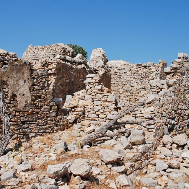"""""""Crusader castle, Tilos"""" stock image"""