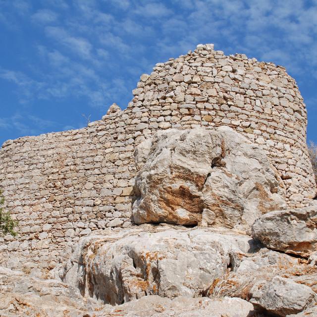 """Ruined Crusader castle, Tilos"" stock image"