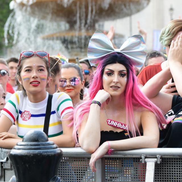 """""""Pride in London Parade 2018 in Trafalgar Square, London, UK"""" stock image"""