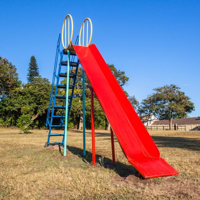 """Playground Childrens Slide Chute Red Blue"" stock image"