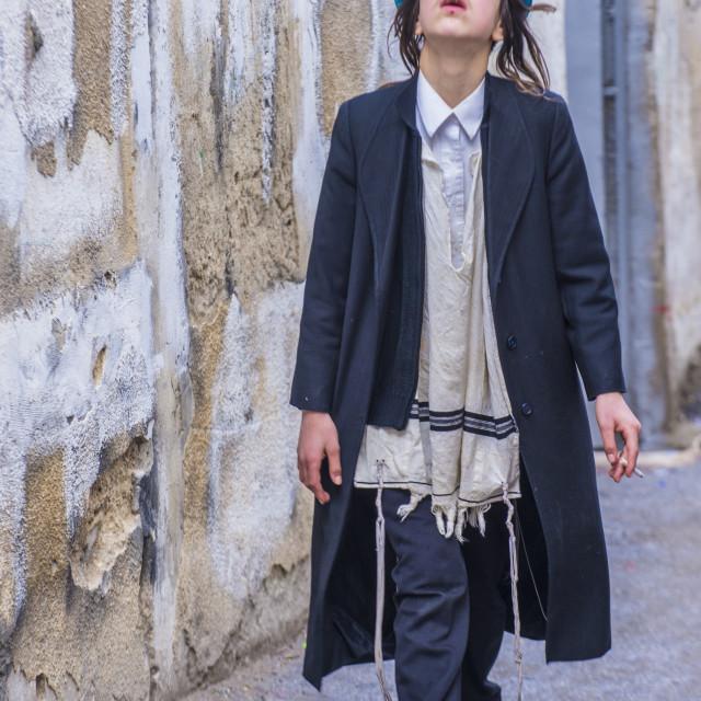 """""""Purim in Mea Shearim"""" stock image"""
