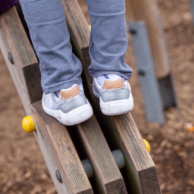 """Wooden climbing frame"" stock image"