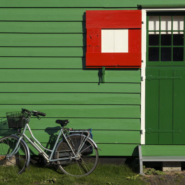 """Bicycle in front of a timbered house"" stock image"