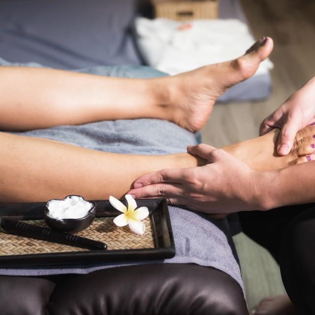 """Closeup Foot heel Thai massage in spa"" stock image"