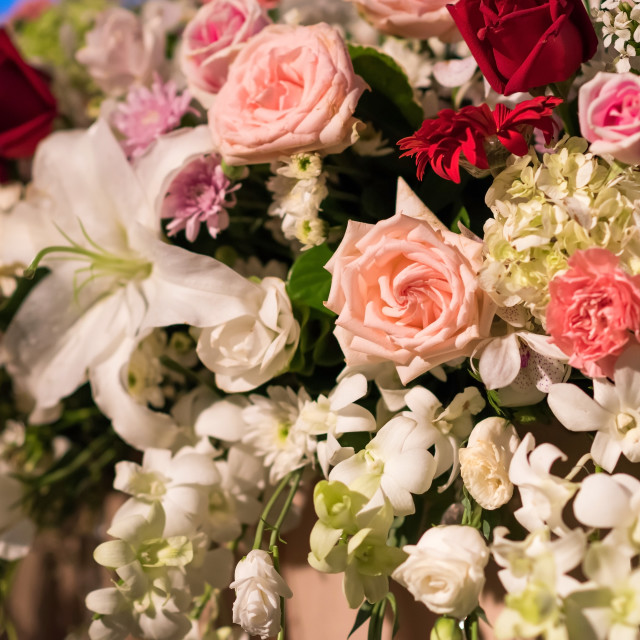"""""""Variety of flowers decorated in wedding reception"""" stock image"""