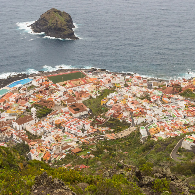 """""""View in the top of the city of Garachico"""" stock image"""