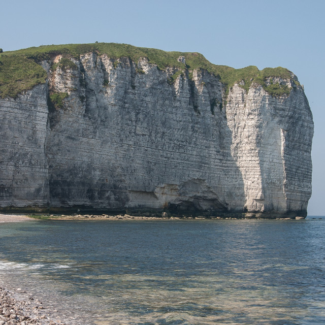 """""""Cliffs and beach at Etretat"""" stock image"""