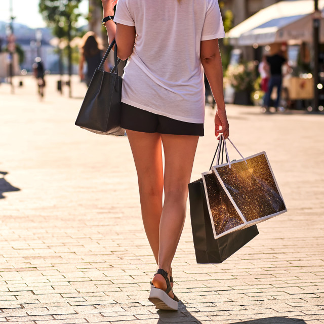 """""""Picture of shopping bags in a young woman hands"""" stock image"""