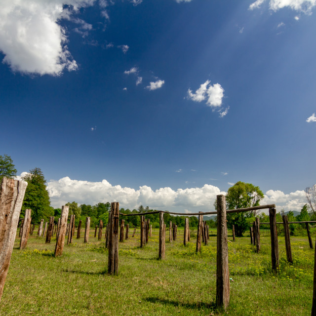 """""""Open drying place near laundromat in Bulgaria"""" stock image"""