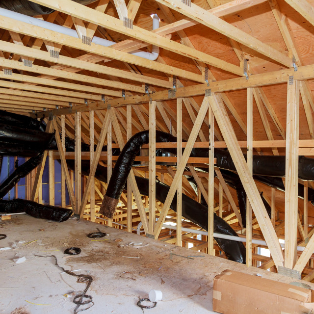 """heating and cooling renovation attic and thermal Insulation"" stock image"