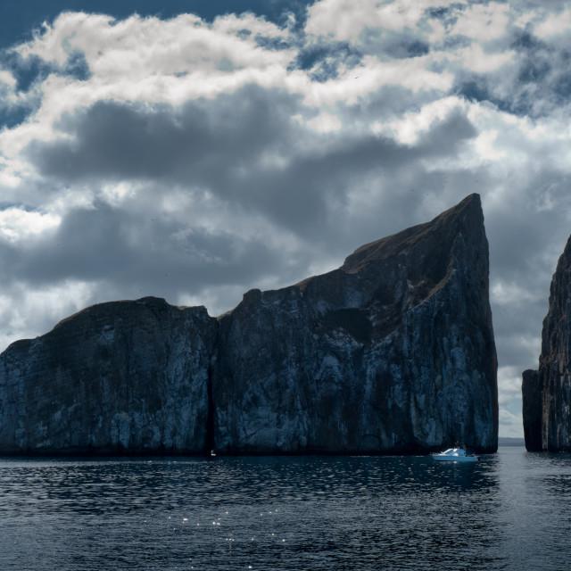 """Galapagos Rock Island and Boat"" stock image"