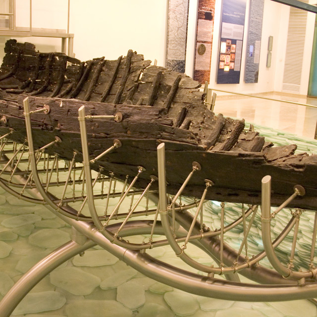 """""""Jesus' Boat. Old boat uncovered in the sea of Galilee, from the"""" stock image"""