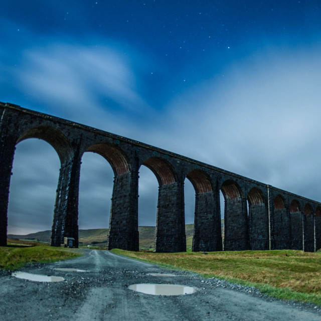 """Ribblehead Viaduct beneath the night sky_1"" stock image"