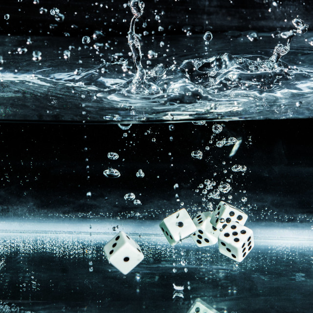 """Five dice dive"" stock image"