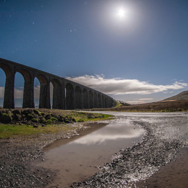 """Ribblehead viaduct beneath a full moon"" stock image"