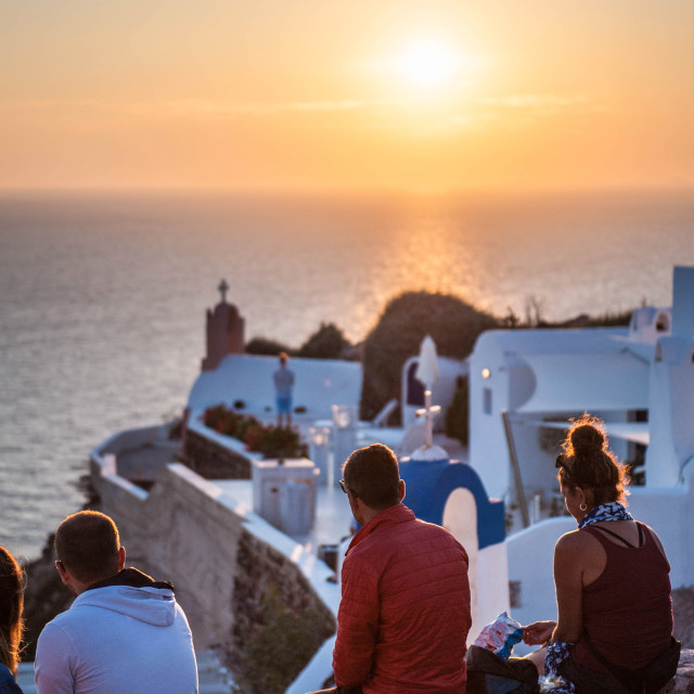 """Sundown at Santorini"" stock image"