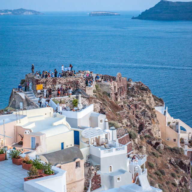 """Crowd scene on Santorini"" stock image"