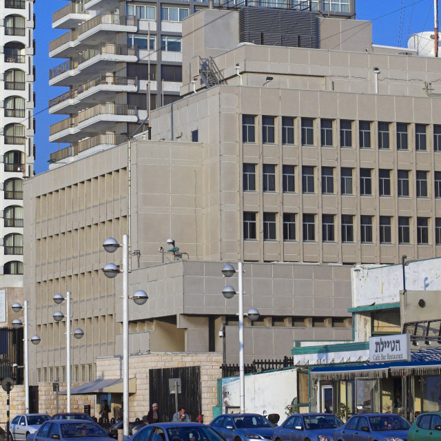 """American embassy, Tel Aviv, Israel;"" stock image"