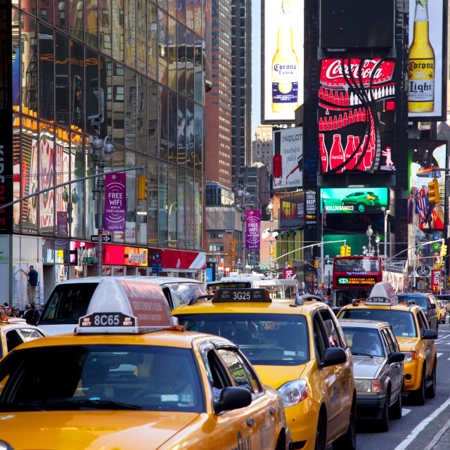 """""""Vehicles line up on Broadway at Times Square in Manhattan, New York City USA"""" stock image"""