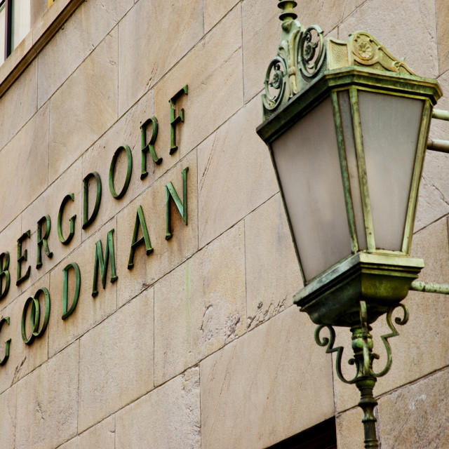 """Detail on the Bergdorf Goodman building in Manhattan, New York City USA"" stock image"