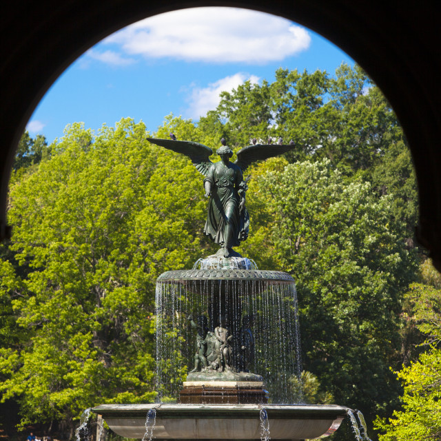 """Angel of the Waters statue and fountain in Bethesda Terrace, Central Park,..."" stock image"