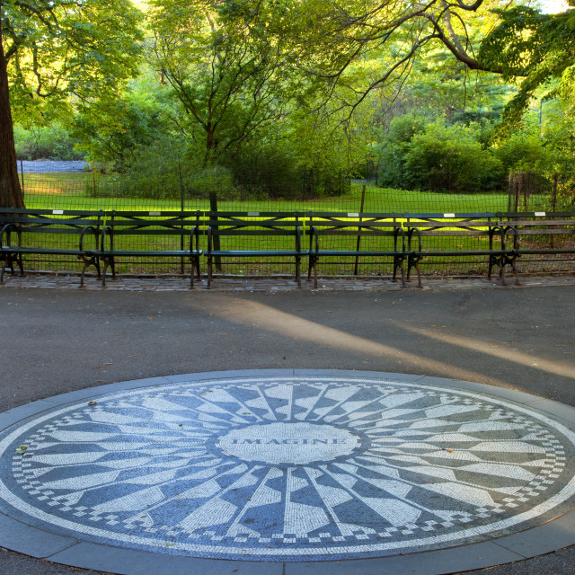 """""Imagine"" - the John Lennon Memorial mosaic in Strawberry Fields inside..."" stock image"