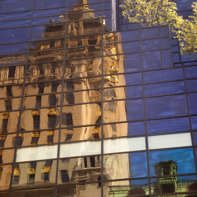 """The Trump Tower with reflections of the Crown Building, Manhattan New York..."" stock image"