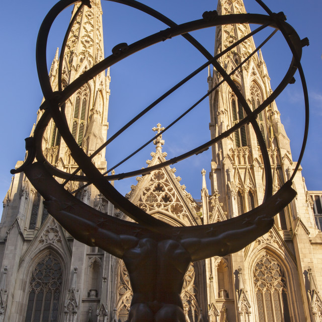 """St. Patrick's Cathedral with bronze statue of Atlas in the foreground, New..."" stock image"