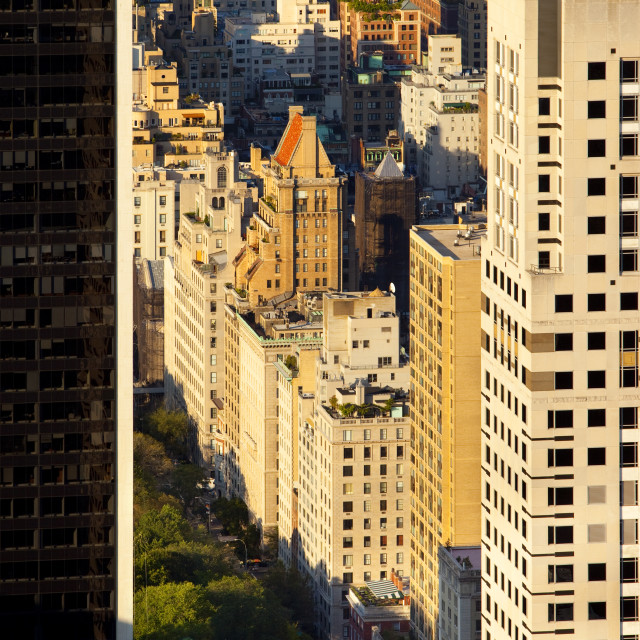 """The southeast edge of Central Park and the buildings along 5th Avenue in..."" stock image"