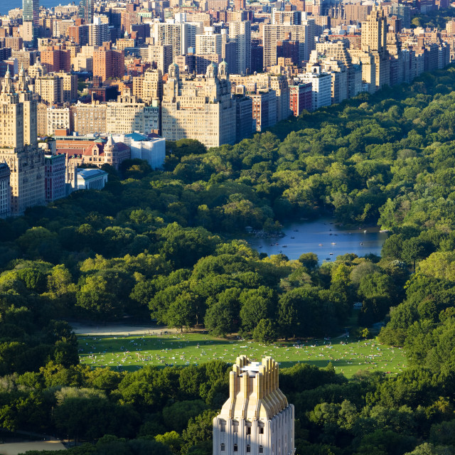 """Central Park and the buildings of Upper Manhattan, New York City USA"" stock image"