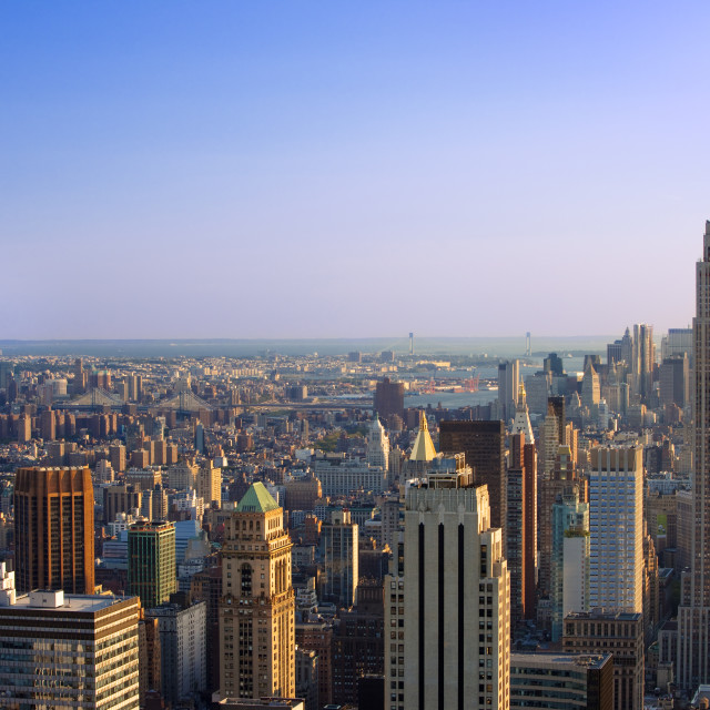 """Late afternoon view over Manhattan, New York City, USA"" stock image"