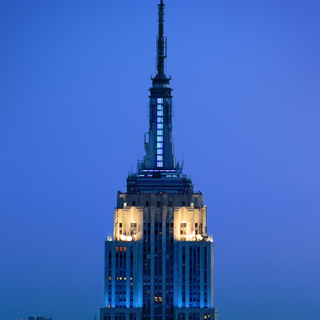 """Twilight view of the Empire State Building, Manhattan, New York City, USA"" stock image"