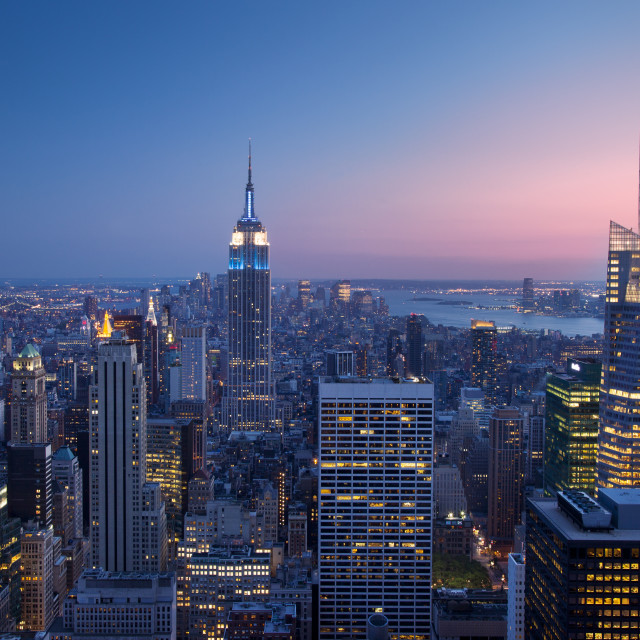 """Twilight view over Manhattan, New York City USA"" stock image"