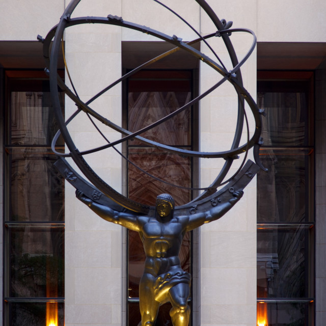 """Statue of Atlas on 5th Avenue at Rockefeller Center, Manhattan, New York..."" stock image"