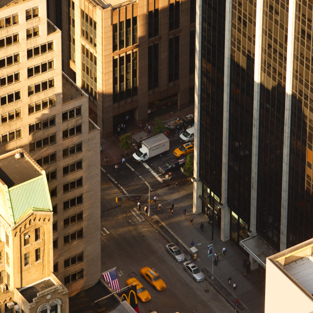 """Early morning view of buildings in Manhattan from the ""Top of the Rock"" in..."" stock image"