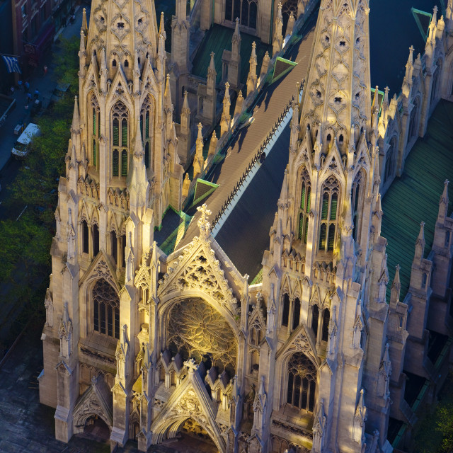 """Overhead view of St. Patrick's Cathedral lit by early morning reflections..."" stock image"