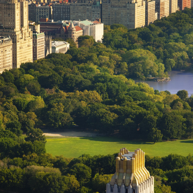 """Early morning view of Central Park and the buildings of the Upper West Side..."" stock image"