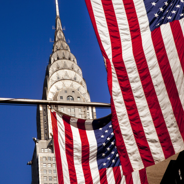 """American Flags along 42nd Street below the Chrysler Building in Midtown..."" stock image"