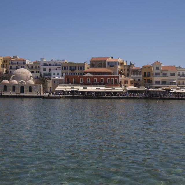 """""""Old venetian Harbour view of Chania city Crete"""" stock image"""