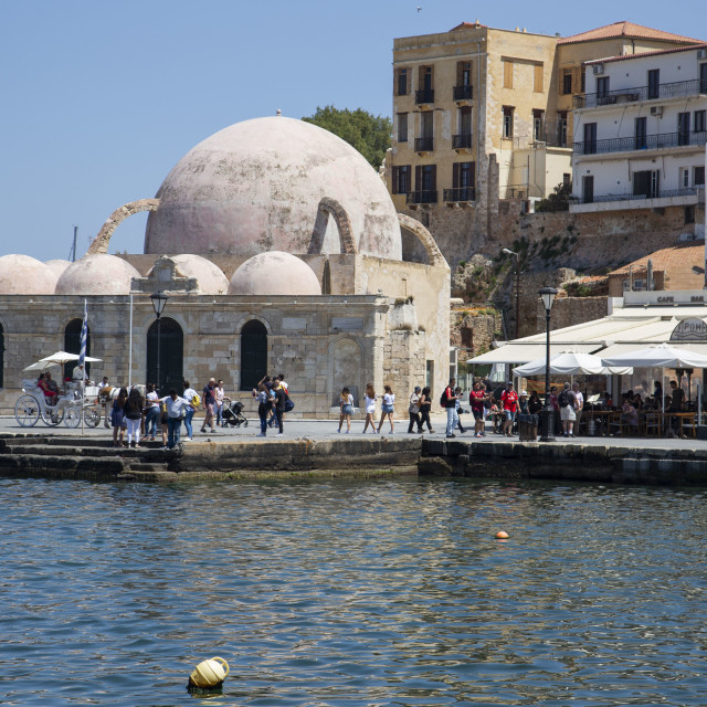 """""""old Yiali mosque at Chania city port Crete Greece"""" stock image"""