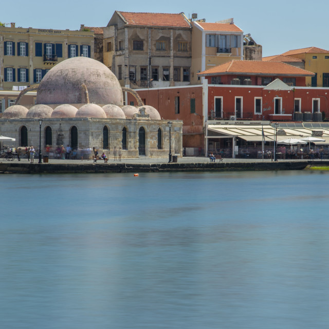 """""""Old Venetian Harbour at Chania city with the """"Gyali Tzami"""""""" stock image"""