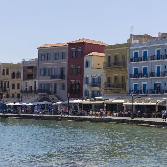 """Buildings over Venetian Chania Harbour"" stock image"