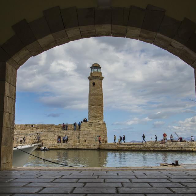 """The lighthouse of Rethymno City Crete"" stock image"