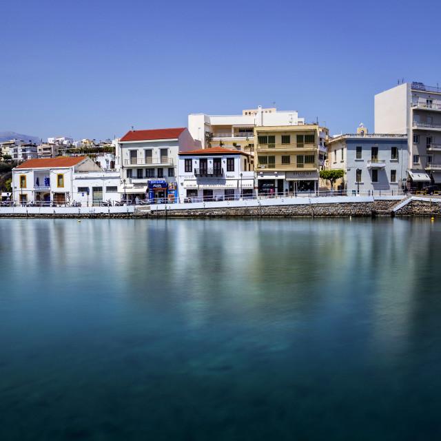 """""""View of Agios Nikolaos City Crete Greece"""" stock image"""