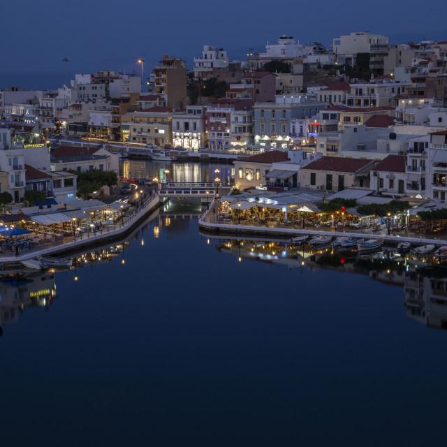 """""""Agios Nikolaos City Lake"""" stock image"""