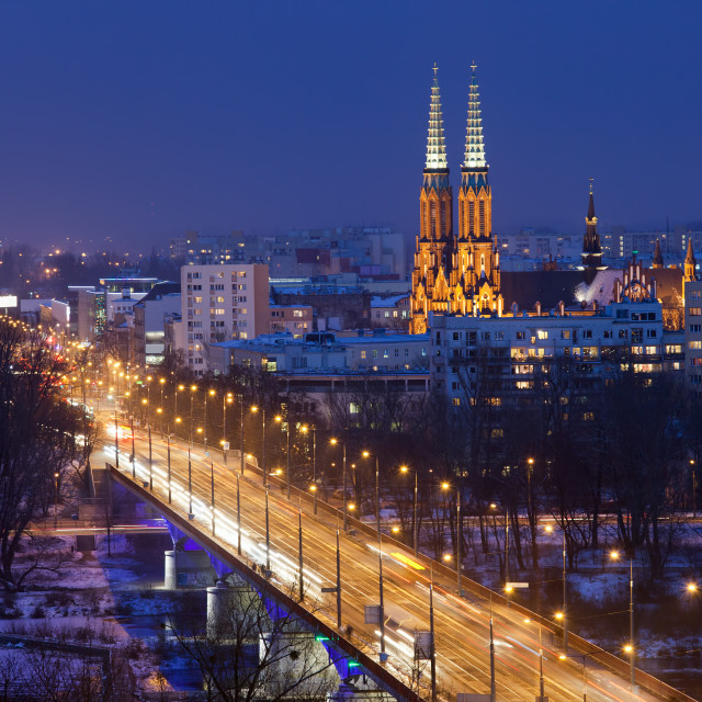 """""""Solidarity Avenue and Praga District in Warsaw by Night"""" stock image"""
