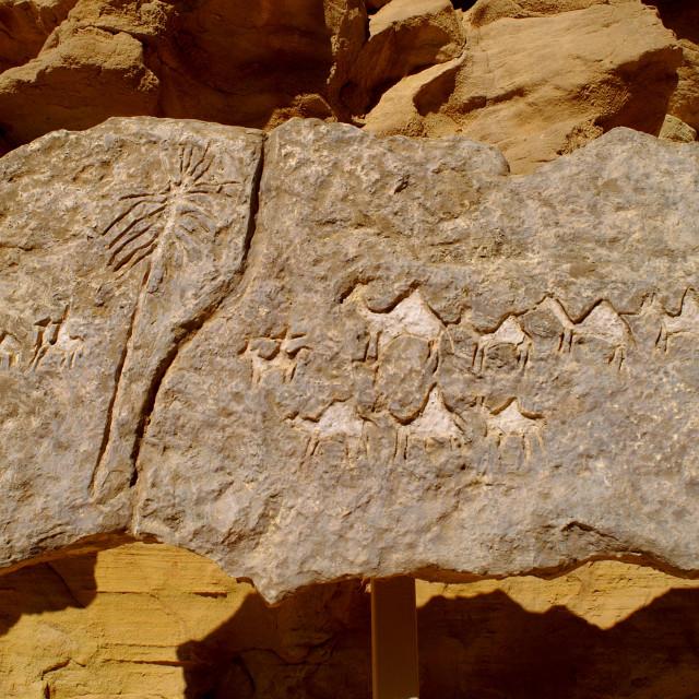 """Prehistoric Rock art in the desert, Timna, Israel"" stock image"